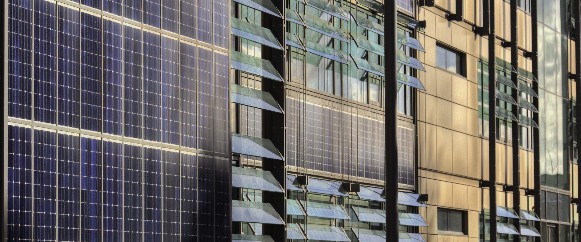 Facade of solar panelled building